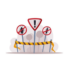 Warning prohibition signs pest control and vector