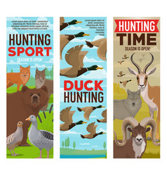 wild animals and birds hunting sport banners vector image