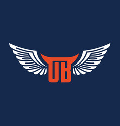 wing logo design and ob initials vector image