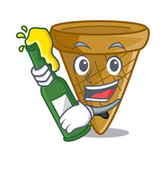 with beer sweet wafer cone isolated on maskot vector image