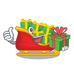 with gift santa sleigh with christmas character vector image