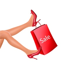 Woman legs and red shopping bag with sale vector