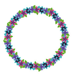 wreath flowers floral decoration icon vector image