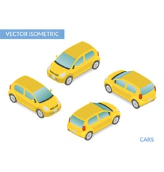 Yellow isometric hatchback vector image