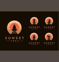 yoga pose logo set in sunset beach logo vector image