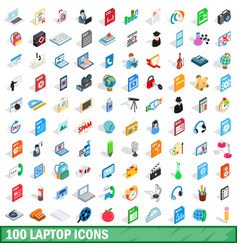 100 laptop icons set isometric 3d style vector image vector image