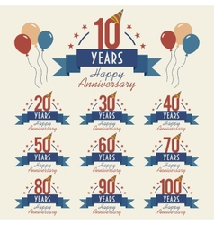 Anniversary sign collection vector image