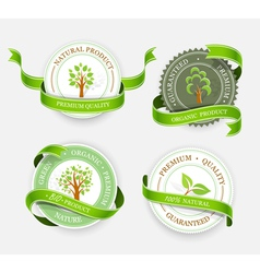 Collection of green stickers vector image vector image