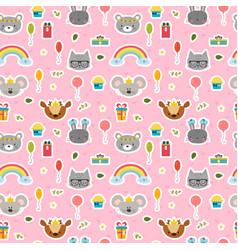 cute seamless pattern with cartoon animals sweet vector image