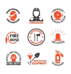Firefighting label set vector image