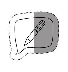 monochrome contour sticker with pen icon in square vector image vector image