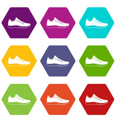 sneakers icon set color hexahedron vector image vector image