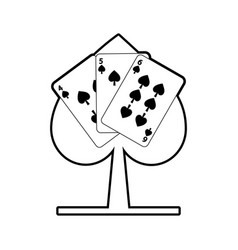 spade poker sign with three card casino vector image