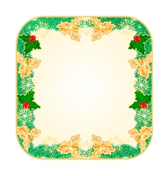Button square Christmas spruce and holly vector image