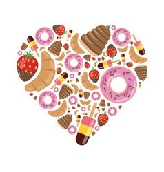 desserts in heart vector image