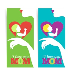 Happy mothers day banners of beautiful silhouette vector