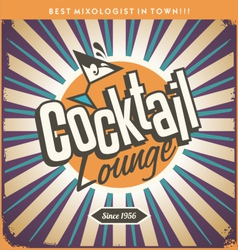 Retro tin sign design for cocktail lounge vector image