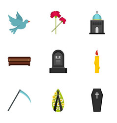 cemetery icons set flat style vector image vector image