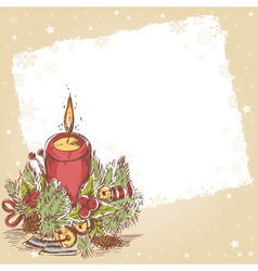 Christmas hand drawn postcard with burning candle vector image vector image