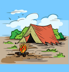 Hiking camping outdoor recreation concept with vector