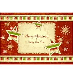 Merry Christmas Background with stars snowflakes vector image