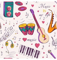 Seamless pattern with music instruments vector image vector image