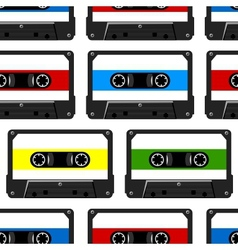 abstract seamless background with audio cassette vector image