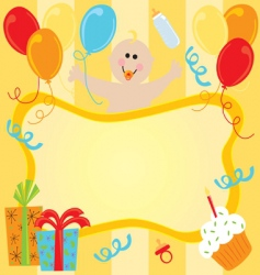 baby girl birthday invitation vector image vector image