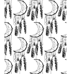 hand drawn seamless pattern with dream catcher vector image