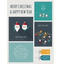 New Year and Christmas Greeting Cards and Banners vector image