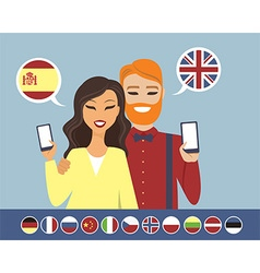 Online language learning concept vector