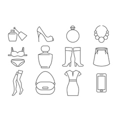 Womens accessories and clothes line icons set vector image