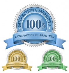 100% satisfaction guaranteed signs vector