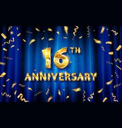 16 years anniversary logo template vector image