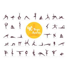 40 yoga asanas with names vector