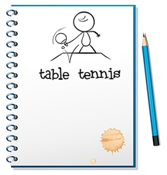 A notebook with sketch of table tennis player vector