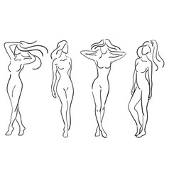 a set of female figures collection of outlines vector image