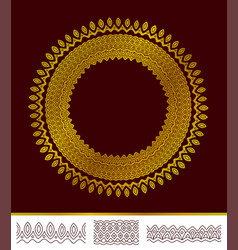 abstract round golden pattern with three brushes vector image