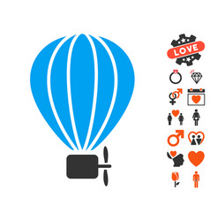 Aerostat balloon icon with valentine bonus vector