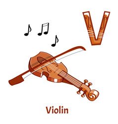 Alphabet letter v violin vector