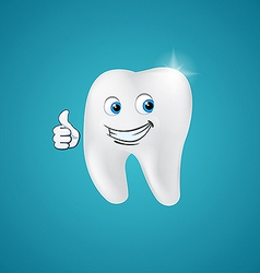 Animated hero happy human tooth vector