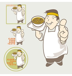 Asian Chef acting present Clean food good taste vector image