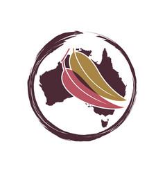 australian leaf circle logo design vector image