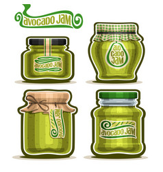 Avocado jam in jars vector