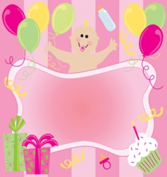 baby girl birthday invitation vector image vector image