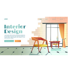 banner interior design with cartoon room vector image