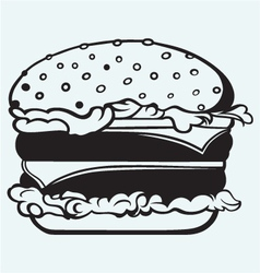 Big and tasty hamburger vector image