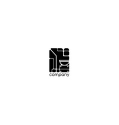 black logo on which an abstract image vector image