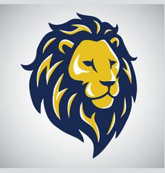 blue yellow lion mascot logo template vector image