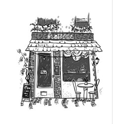 Brasserie little cosy cafe sketch vector